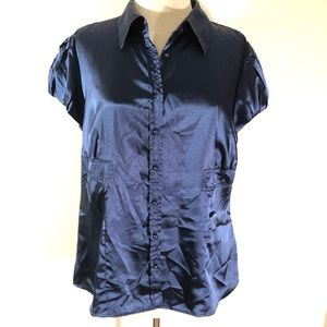 EUC Apt 9 Satin Career Blouse Navy Blue sz XL